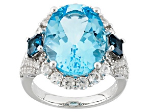 Sky Blue Topaz Sterling Silver Ring 12.49ctw