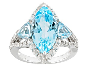 Sky Blue Topaz Sterling Silver Ring 6.39ctw