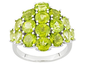 Green Peridot Sterling Silver Ring 6.25ctw