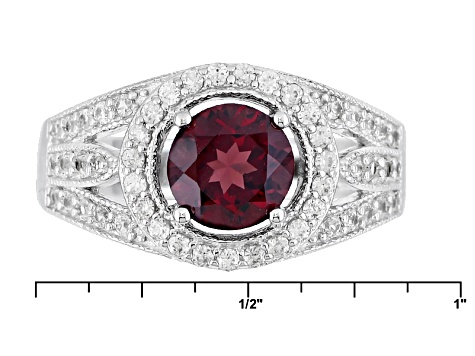 Purple Rhodolite And White Zircon Sterling Silver Ring 2.26ctw