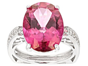 Pink Topaz Sterling Silver Ring 10.04ctw