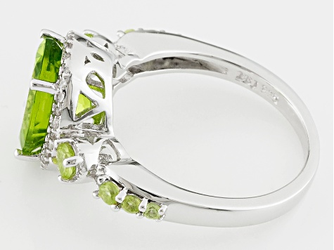 Green Peridot Sterling Silver Ring 3.72ctw
