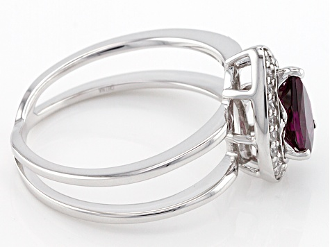 Purple Rhodolite Sterling Silver Ring .92ctw