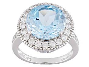 Sky Blue Topaz Sterling Silver Ring 8.06ctw