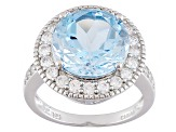 Sky Blue Topaz Sterling Silver Ring 8.06ctw
