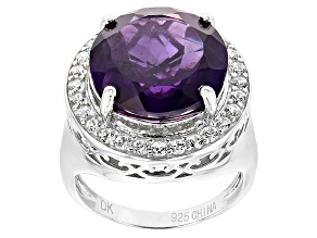 Purple Amethyst Sterling Silver Ring 8.08ctw