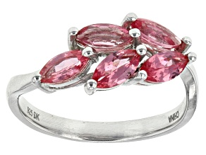 Pink Burmese Spinel Rhodium Over Sterling Silver Ring 1.00ctw