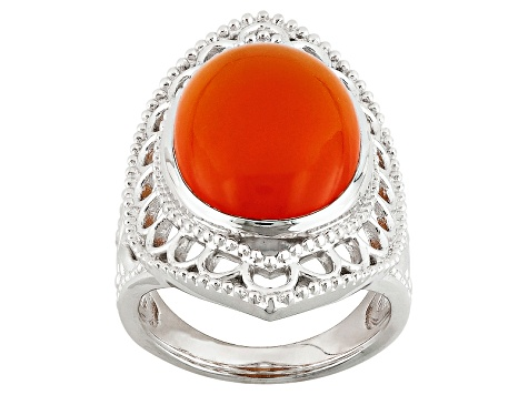 Orange Carnelian Sterling Silver Ring