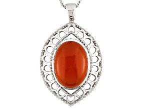 Orange Carnelian Sterling Silver Pendant With Chain