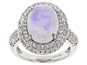 White Rainbow Moonstone Sterling Silver Ring .95ctw