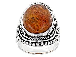 Orange Sunstone Sterling Silver Ring 10.80ct