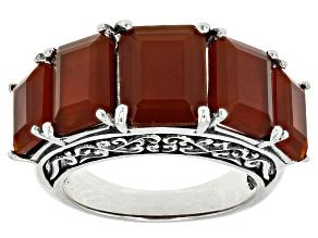 Orange Carnelian Sterling Silver 5-Stone Ring
