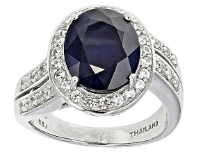 Blue Sapphire Rhodium Over Sterling Silver Ring 5.00ctw