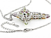 Multi-Gem Sterling Silver Cross Pendant With Chain 10.01ctw
