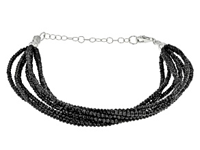 Black Spinel Rhodium Over Sterling Silver Bracelet Approximately 46.75ctw