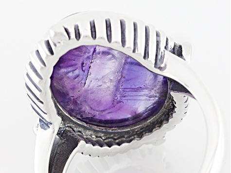 Purple Carved African Amethyst Sterling Silver Ring 10.00ct