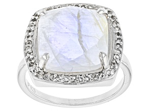 White Rainbow Moonstone Sterling Silver Ring .42ctw