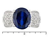Blue Lab Created Sapphire Sterling Silver Ring 6.82ctw