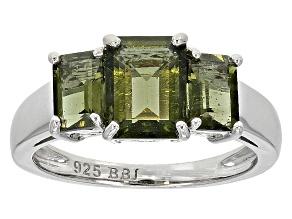 Green Moldavite Sterling Silver 3-Stone Ring 2.02ctw