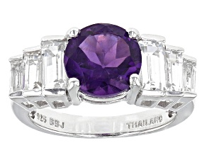 Purple African Amethyst Sterling Silver Ring 3.46ctw