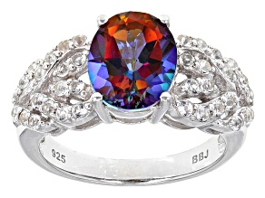 Multi Color Topaz Sterling Silver Ring 2.95ctw