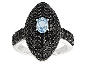 Blue Aquamarine Sterling Silver Ring 3.00ctw