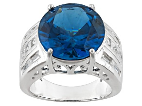 Blue Lab Created Spinel Sterling Silver Ring 9.23ctw