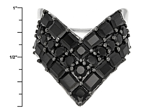 Black Spinel Sterling Silver Chevron Ring 5.77ctw