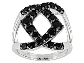 Black Spinel Sterling Silver Ring 1.87ctw