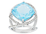 Sky Blue Topaz Sterling Silver Ring 10.20ctw