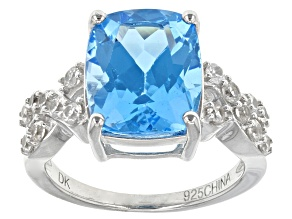 Swiss Blue Topaz Sterling Silver Ring 6.79ctw