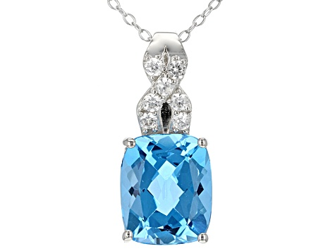 "Sterling Silver Rectangle Light Swiss Blue Topaz /& Diamond Pendant w//18/"" Chain"