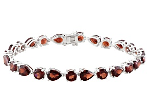 Red Garnet Sterling Silver Bracelet 31.03ctw