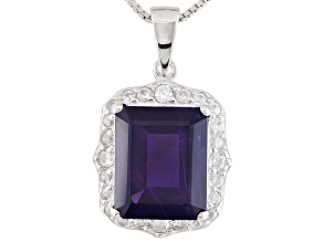 Purple African Amethyst Sterling Silver Pendant With Chain 5.37ctw