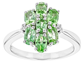 Green Mint Tsavorite Garnet Sterling Silver Ring 1.71ctw