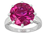 Pink Lab Created Sapphire Sterling Silver Ring 10.20ct