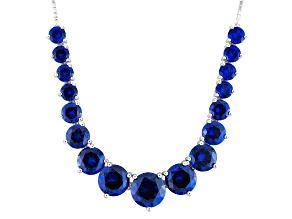 Blue Lab Created Spine Silver Sliding Adjustable Necklace 23.07ctw
