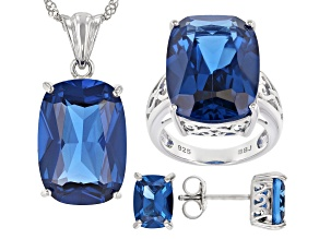 Blue Lab Created Spinel Rhodium Over Sterling Silver Boxed Set 38.00ctw
