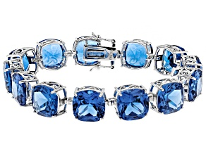 Blue Lab Created Spinel Sterling Silver Bracelet 88.78ctw