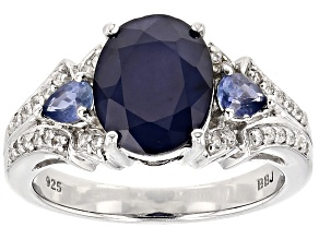 Blue Sapphire Sterling Silver Ring 2.89ctw