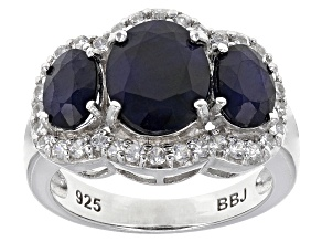 Blue Sapphire Rhodium Over Sterling Silver Ring 4.91ctw