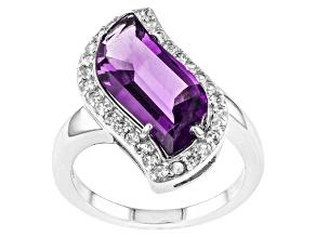Purple Amethyst Sterling Silver Ring 4.37ctw