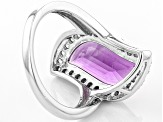 Purple Amethyst Sterling Silver Ring 4.37ctw