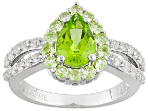 Green Peridot Sterling Silver Ring 2.28ctw