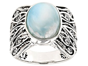 Blue Larimar And White Zircon Sterling Silver Ring .38ctw