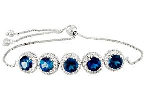 London Blue Topaz Rhodium Over Sterling Silver Sliding Adjustable Bracelet 7.52ctw