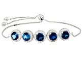 London Blue Topaz Rhodium Over Sterling Silver Sliding Adjustable Bracelet 7.52ctw