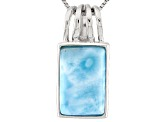 Blue Larimar Sterling Silver Solitaire Pendant With Chain