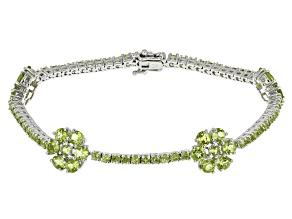 Green Peridot Sterling Silver Bracelet 11.80ctw