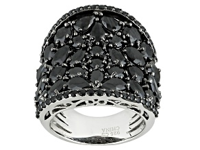 Black Spinel Sterling Silver Band Ring 8.03ctw